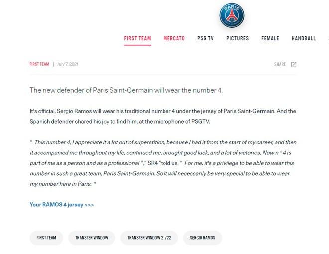 PSG mistakenly announce Ramos - Bóng Đá