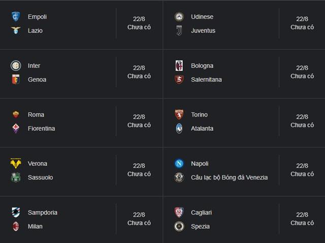 Lịch thi đấu Serie A 2021/22 vòng 1