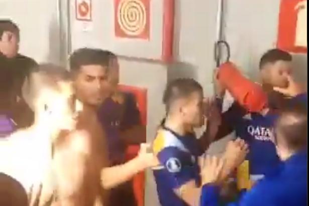 Former Manchester United defender Marcos Rojo wields fire extinguisher during furious clash as police make arrests - Bóng Đá